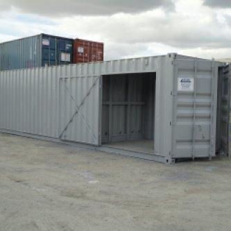 40ft Workshop Container - Grey, Side door open