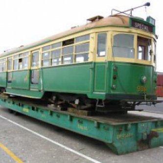 40' Flat Platform holding a Tram - Green