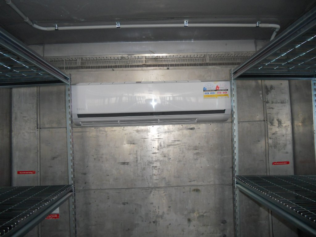 insulated container is fitted with 8kW reverse cycle air conditioning  #623D3C