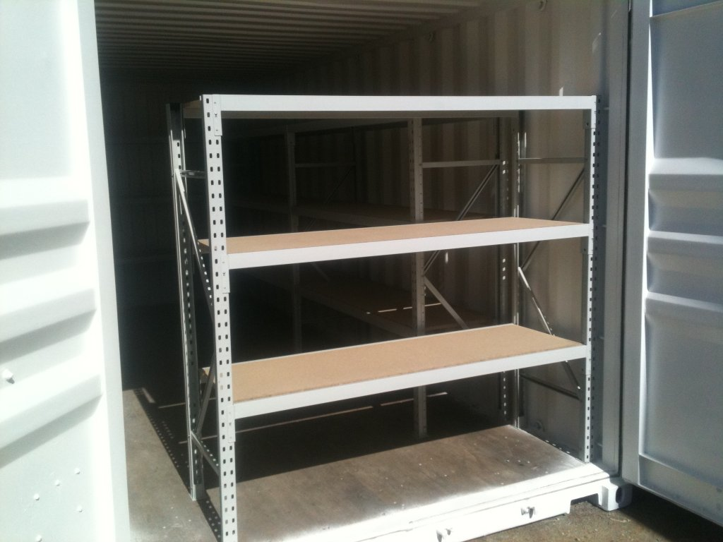 Quick access shelving at end doors