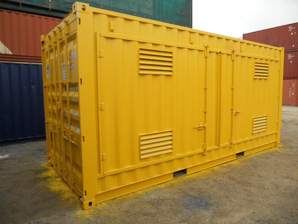 Dangerous goods container painted yellow to indicate caution