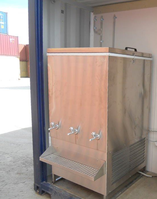 external water chiller with taps provides cold drinking water