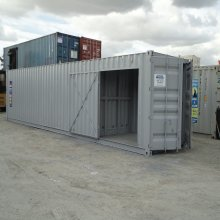40ft Workshop Container - Grey, Side door open